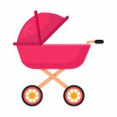 Baby Carriage, Pram Flat Vector Illustration. Toddler Buggy, Stroller Side View. Outdoor Family Stro poster