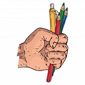 Male Hand Holds A Pen And Pencils Icon. Vector Of A Pen With Pencils In Hand. Hand Drawn Human Hand  poster