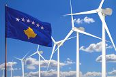 Kosovo Alternative Energy, Wind Energy Industrial Concept With Windmills And Flag - Alternative Rene poster