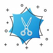 White Line Scissors Hairdresser Icon Isolated On White Background. Hairdresser, Fashion Salon And Ba poster