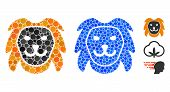 Lion Head Mosaic Of Round Dots In Different Sizes And Color Tinges, Based On Lion Head Icon. Vector  poster