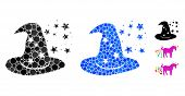 Magic Hat Mosaic Of Round Dots In Different Sizes And Color Tinges, Based On Magic Hat Icon. Vector  poster