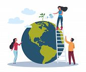 Ecology World Concept. Save Green Planet Environment. People Take Care About Planet Ecology. Vector  poster