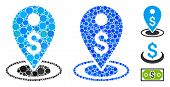 Money Place Mosaic Of Small Circles In Variable Sizes And Color Tints, Based On Money Place Icon. Ve poster