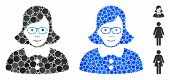Teacher Lady Mosaic Of Round Dots In Different Sizes And Color Tints, Based On Teacher Lady Icon. Ve poster