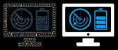 Flare Mesh Radar Battery Control Monitor Icon With Glow Effect. Abstract Illuminated Model Of Radar  poster