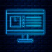 Glowing Neon Line Computer Monitor With App Delivery Tracking Icon Isolated On Brick Wall Background poster