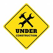 Under Construction Road Sign,under Construction Icon On Yellow Background Drawing By Illustration poster