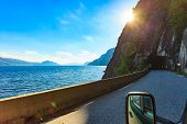 Fjord Landscape And Old Tunnel Entrance At The Norwegian Mountains, Norway Scandinavia. View From Ca poster