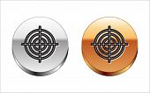 Black Line Target Sport For Shooting Competition Icon Isolated On White Background. Clean Target Wit poster