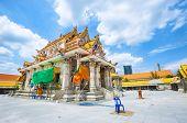 A New Temple Under Construction At Wat Pariwat, Bangkok. Wat Pariwat Is Famous For The David Beckham poster