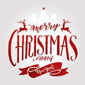 Merry Christmas Lettering.vector Illustration.isolated Calligraphic Text  Merry Christmas And Happy  poster