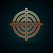 Gold Line Target Sport For Shooting Competition Icon Isolated On Dark Blue Background. Clean Target  poster
