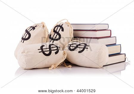 Concept of expensive education with books and money