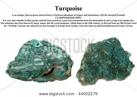 Raw turquoise isolated on white