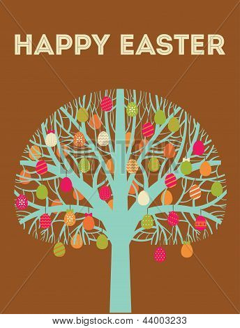 Blue Happy Easter tree greeting card with eggs in warm colours. Vector Illustration