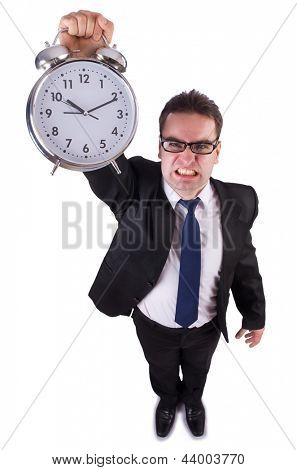 Funny businessman with gian clock on white