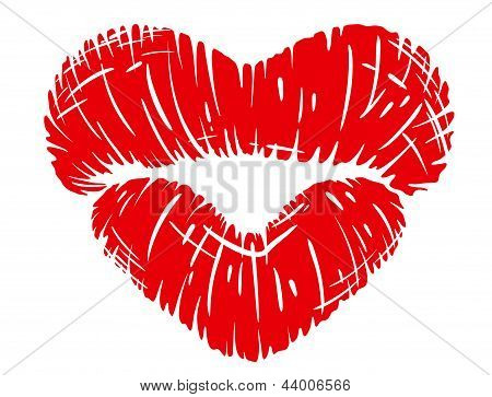 Red lips print in heart shape