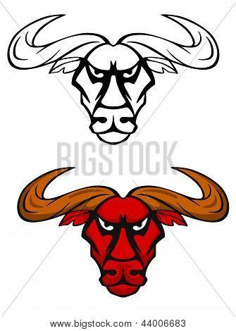 Attack bull head mascot