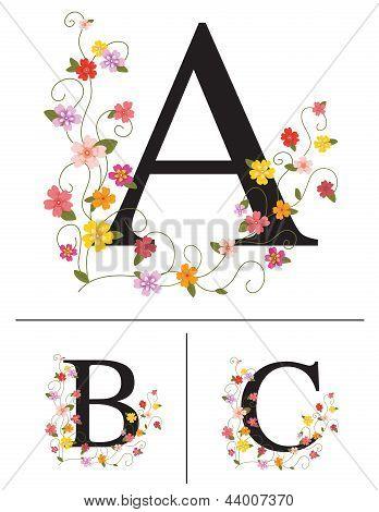 Decorative super caps letters A, B, C
