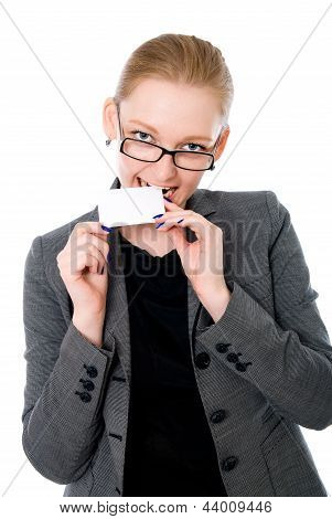 Business Woman Tries On A Tooth Credit Card