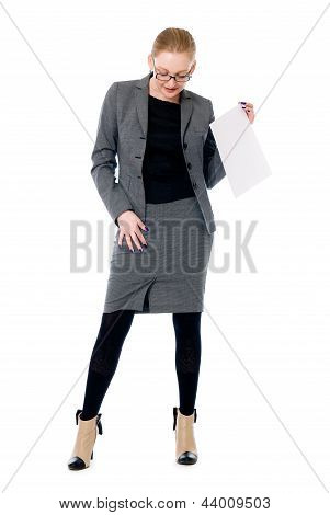 Active Business Woman With A Blank Sheet Of Paper