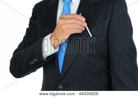 Closeup of a businessman in a suit taking a pen from the breast pocket of his jacket. Torso only, man is unrecognizable. Horizontal format on a white background.