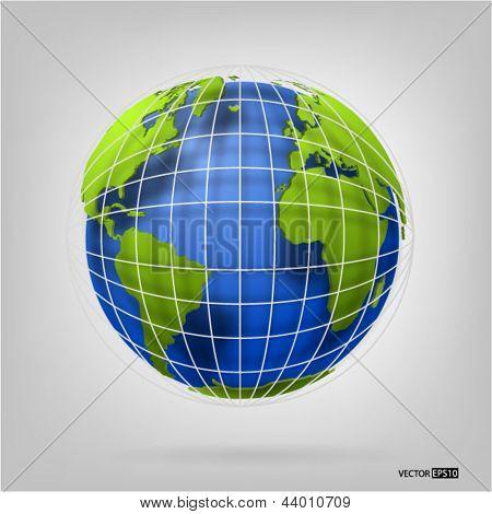 globo 3D do mundo. Ilustração do vetor de EPS10.