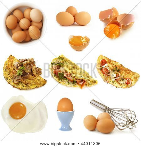 Collection of eggs and omelets, isolated on white.