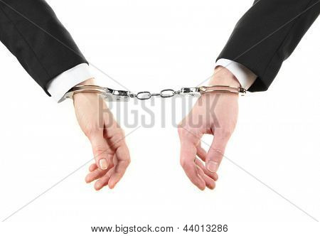 Man and woman hands and breaking handcuffs isolated on white background