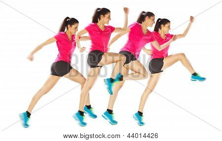 Different Positions Woman Starting Running