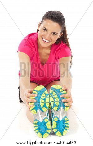 Sport Woman Stretching Isolated On White