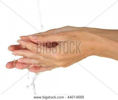 Washing hands on white background close-up