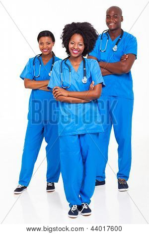 group of african hospital workers portrait on white