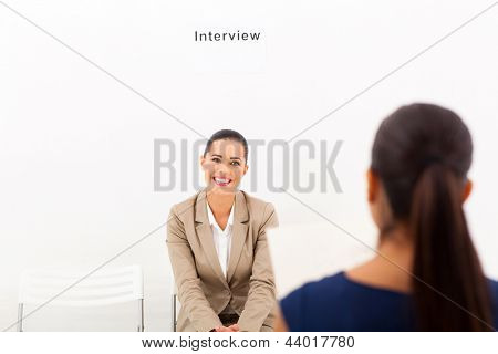 gorgeous young woman during job interview session