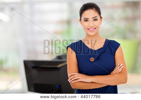 portrait of caucasian businesswoman in her office