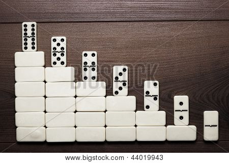 job ladder concept domino pieces forming stair