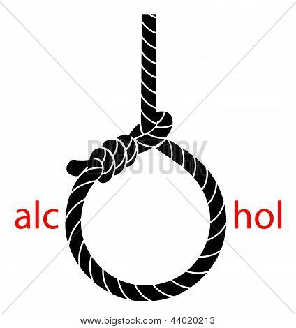 Hangman's noose with protest against alcohol
