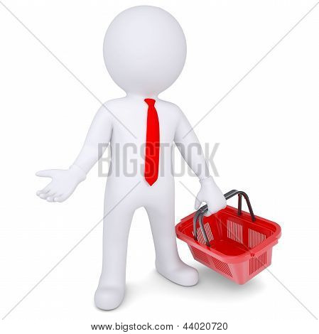 3d white man with a shopping basket