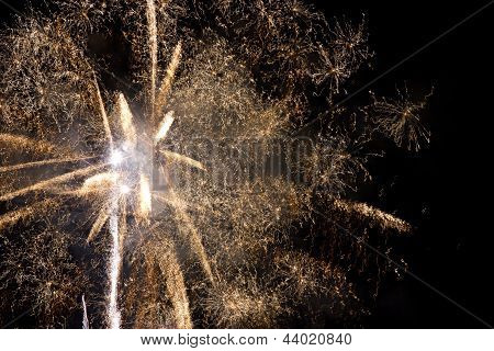 Great Yellow Fireworks On The Night Sky