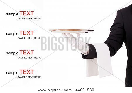 Professional waiter holding an empty silver tray. Space to insert copyspace.