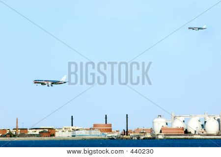 Aircrafts Preparing For Landing At Logan Airport.