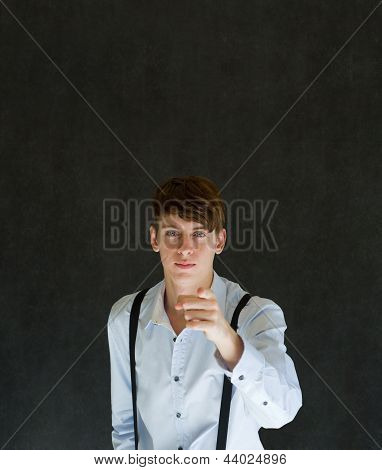 Your Country Needs You Pointing Man On Blackboard Background