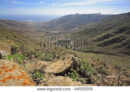 Valley Temisa And Coast Of Ocean,  Lanzarote, Canary Islands, Spain