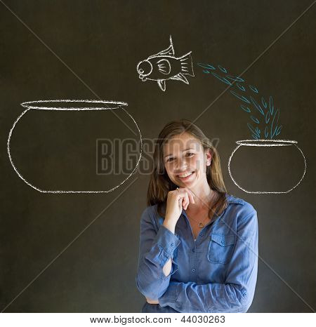 Woman With Jumping Fish Small To Big Bowl