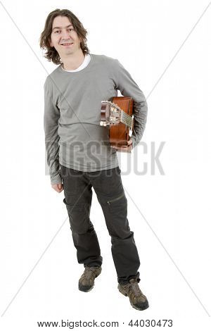 young musician with acoustic guitar, isolated