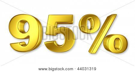 95% discount digits in gold metal, ninety five percent off golden sign