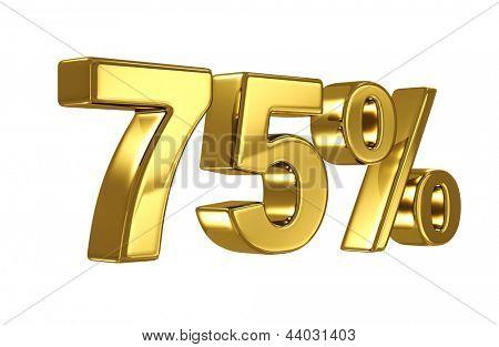 75% discount digits in gold metal, seventy five percent off golden sign