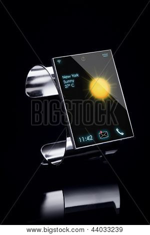 Modern Internet Smart Watch On A Black Background