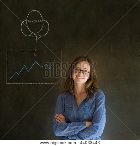 Woman, Student Or Teacher With Chalk Success Graph And Balloon
